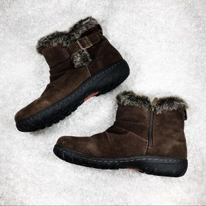 Khombu Brown Ankle Boot with Faux Fur Size 9